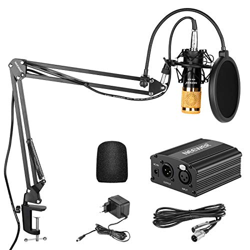 Neewer NW-800 Kit de Micrófono de Condensador de Oro - Fuente de Alimentación Negra 48V Phantom Soporte de Brazo de Tijeras NW-35 con Montaje de Choque y Filtro Pop Cable XLR