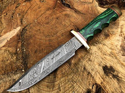 Perkin Knives Damasco Cuchillo de Caza de Acero Hecho a Mano Cuchillo de Hoja Fija - AR601, Green Wood Handle and Brass Guard