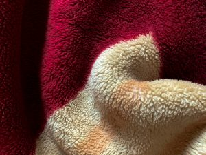 manta de coralina roja y beige