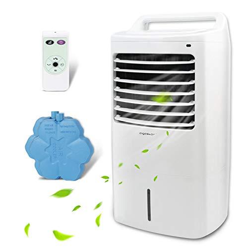 Aigostar Kohl 33JTJ - Climatizador Portatil con Mando a Distancia, 60W, Oscilante, 3 Nodos y 3 Velocidades, 7h Temporizador, Enfriador de Aire, 2 Cajas hielo, Depósito de 15L