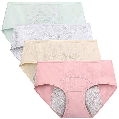 Nightaste Bragas del Período Menstrual Algodón Niña Chicas Adolescentes Micro Mesh Culottes Mujer Posparto Protección Ropa Interior(Paquete de 4) (M(Cintura:66-68.5cm), Estilo2)