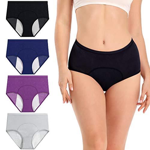 wirarpa Bragas Menstruales Absorbentes Culottes Mujer para Período 4 Pack Multicolor Talla M