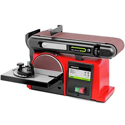 GREENCUT LJ400C - Lijadora de banda y disco 400W Eléctrica 2980rpm Herramienta Pulidora Inclinable para Bricolaje