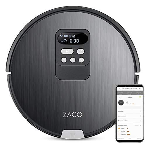 ZACO - Robot aspirador y fregasuelos V85 WiFi, Alexa, Google, App - recipiente XXL 750 ml - Aspiradora y fregadora 2 en 1 inteligente con navegación y base - Robots aspiradores para pelos de animales
