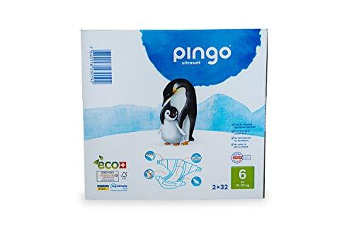 Pingo - Pañales Talla 6 XL - 2 paquetes de 32 unidades-15-30 kg- Pañales para bebé - Anti-alergénicos sin perfume - Máxima Absorción - Pañales Ecológicos - Pañales talla 6 XL desechables - Color Blanc