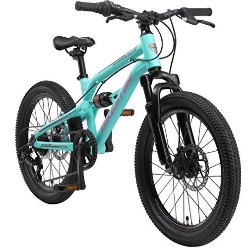 BIKESTAR Bicicleta de montaña de Aluminio Suspensión Doble Bicicleta Juvenil 20 Pulgadas de 6 años   Cambio Shimano de 7 velocidades, Freno de Disco   niños Bicicleta   Turquesa