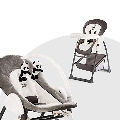 Hauck Trona Evolutiva Sit N Relax, Hamaquita para Bebes de Nacimiento hasta 9 kg, Silla Reclinable para Niños hasta 15 kg, Regulable en Altura, Plegable, Ruedas, Arco Móvile, Mesa, Gris