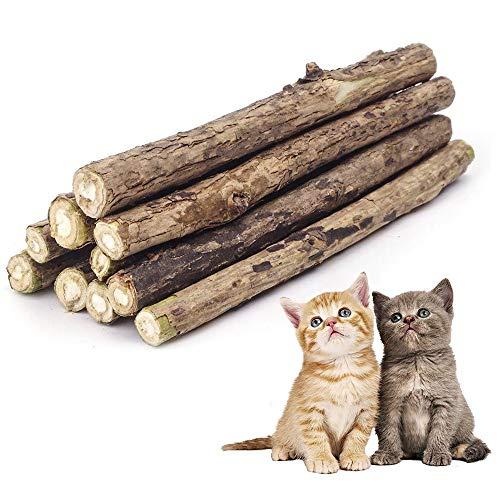 CZ Store Palitos Matatabi   Pack de 10   ✮GARANTÍA DE por Vida✮ - Juguete Reusable con Hierba Gatera Calmante para Gatos y Gatitos - Higiene Bucal, Aliento - Sabor Menta, Madera Natural Orgánica
