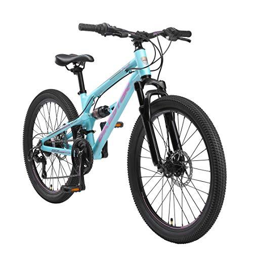 BIKESTAR Bicicleta de montaña de Aluminio Suspensión Doble Bicicleta Juvenil 24 Pulgadas de 9 años   Cambio Shimano de 21 velocidades, Freno de Disco   niños Bicicleta   Azul
