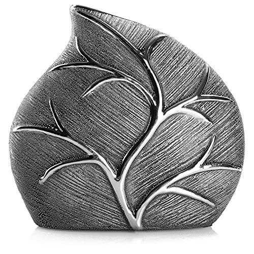com-four® Jarrón de cerámica - Jarrón de Flores con diseño de Hojas - Jarrones Decorativos para Flores - Jarrón Ceramica para el hogar y la Oficina