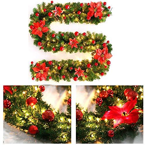 SmartHitech Guirnalda Navideña de 9Pies / 2,7M, Guirnalda Artificiales Decorada Preiluminada con Luz de Flor LED para Escaleras Decoración de Fiesta de Festival de Chimenea (Rojo)