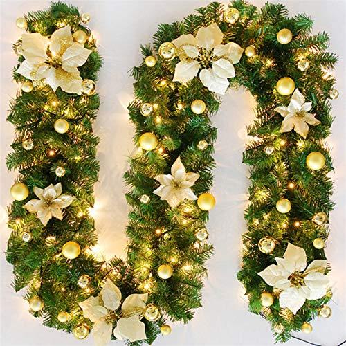 TopHGC Guirnalda de Navidad, 2.7M Chimeneas Escaleras Guirnaldas Decoradas Luces LED Adorno Corona de Navidad para decoración del hogar (Oro)