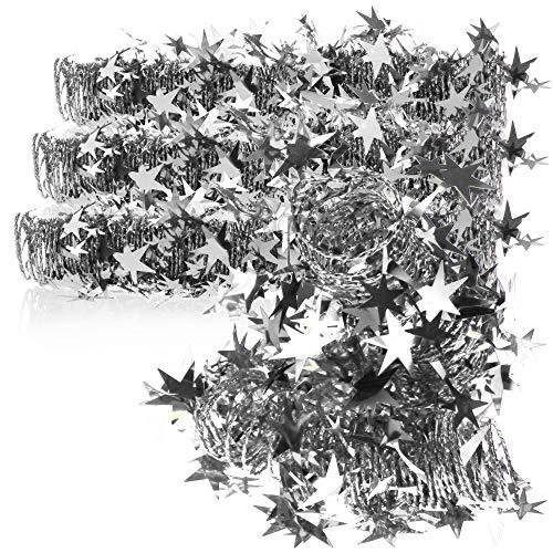 com-four® 4X Espiral Decorativa con Estrellas - Guirnalda de Estrellas en Forma de Espiral para Navidad - Guirnalda navideña para decoración de árboles - 7,5 m Cada una (Color Plateado - 4 Piezas)