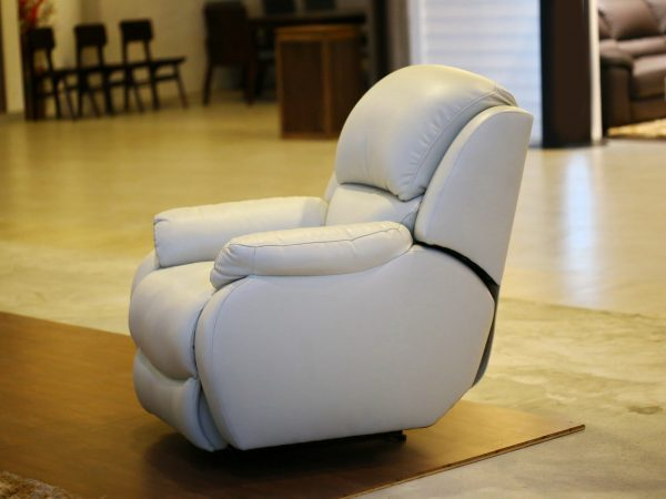 white sofa ,leather recliner armchair with massage and foot rest